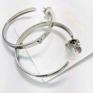 Tory Burch Silver Kira Hoop Earrings